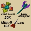Keifer items shop : Toxic blowpipe package with mithril dart