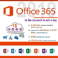 Microsoft Office 365 Pro Lifetime Account 5 devices 5tb WINDOWS/mobile/mac