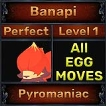 Banapi - Perfect 7/7 SV - Pyromaniac Trait - All Egg Moves - Level 1- Instant Delivery