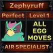 Zephyruff - Perfect 7/7 SV - Air Specialist Trait - 1 Egg Move - Level 1- Instant Delivery