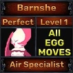 Barnshe - Perfect 7/7 SV - Air Specialist Trait - All Egg Moves - Level 1- Instant Delivery