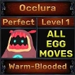 Occlura - Perfect 7/7 SV - Warm-Blooded Trait - 2 Egg Moves - Level 1- Instant Delivery