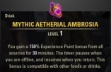 Mythic Aetherial Ambrosia + 150% EXP