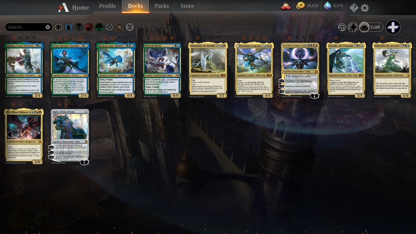 over 500 rares, over 120 mythics, over 25,000 gold, over 8,000 ge
