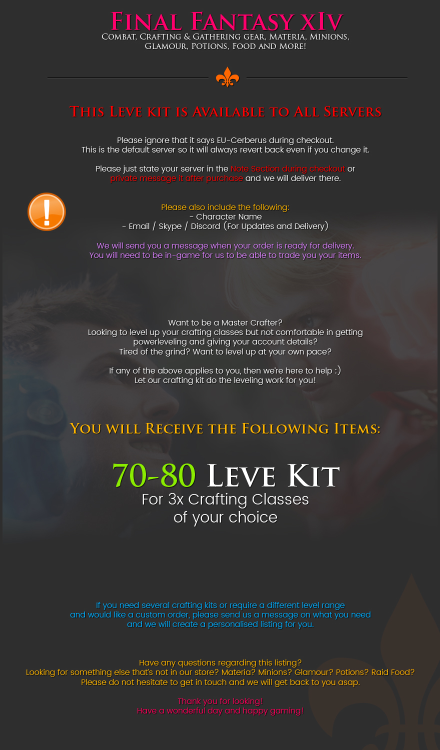 ⭐ LEVE KIT - 70-80 Specialist Crafting Leve Kit - Any 3x C    | ID