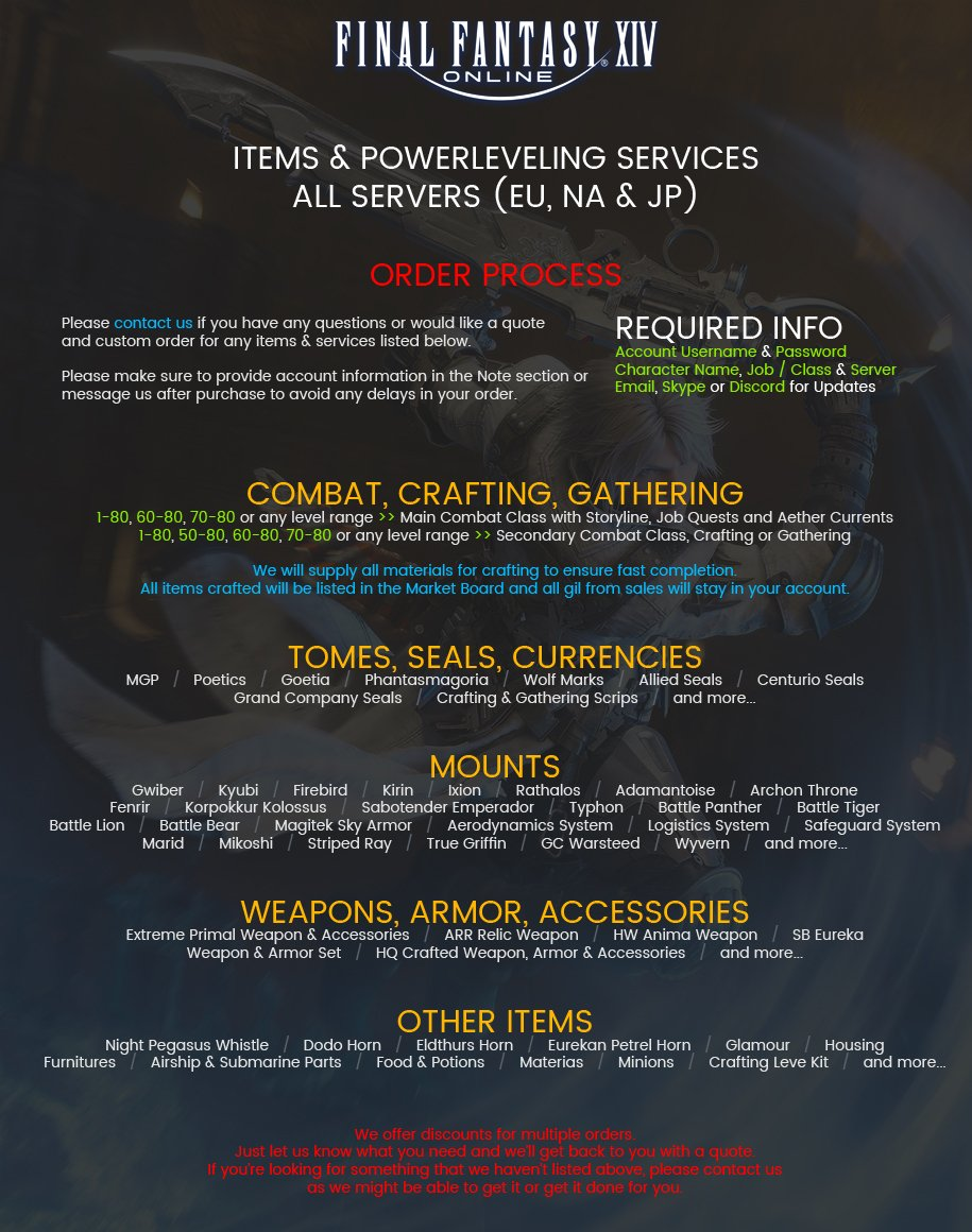 ⭐ 5 0 UPDATE - FFXIV Powerleveling Services - Please Conta    | ID